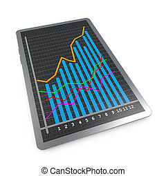 The rising curve chart success - Tablet pc screen showing...