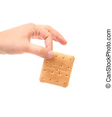 Cracker on white background - Hand holds saltine soda...
