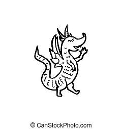 cartoon little green dragon