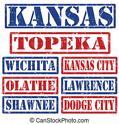 Kansas Cities stamps - Set of Kansas cities stamps on white...