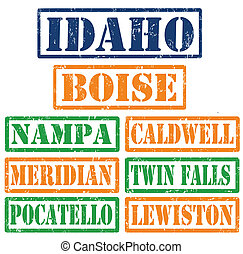 Idaho Cities stamps - Set of Idaho cities stamps on white...