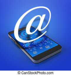 Touch screen mobile phone with email icons