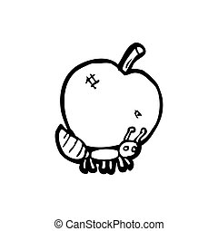 cartoon ant carrying apple
