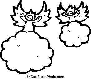 cartoon angels in heaven