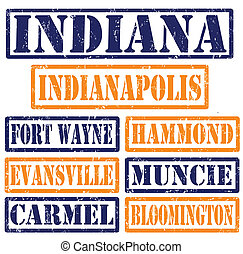 Indiana Cities stamps - Set of Indiana cities stamps on...