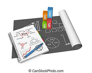 Project management - Business concept and graphs drawing on...