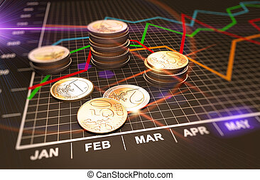 Money and charts - Financial business chart and coins