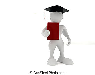 Bachelor degree - 3d render illustration of a student...