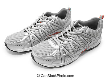 mans jogging shoes isolated on white contains clipping path...
