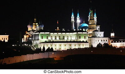 kazan kremlin and kul sharif mosque at night in russia