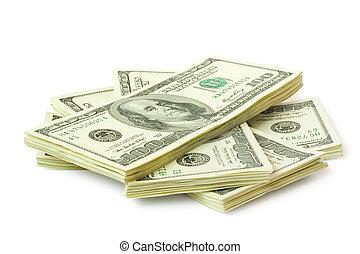 money - big sheaf of money isolated on white