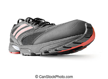 black jogging shoe isolated on white