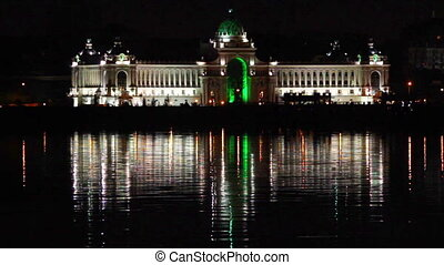 Palace of farmers at night in Kazan Russia