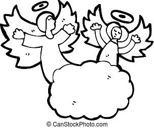 cartoon angel in heaven