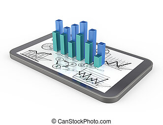 Busines graph charts - Smart phone and graph charts concept
