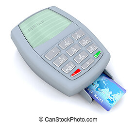 credit card transaction - 3d render of a credit card...