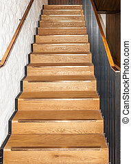 Wooden oak straight stairs - Wooden oak straight stairway.