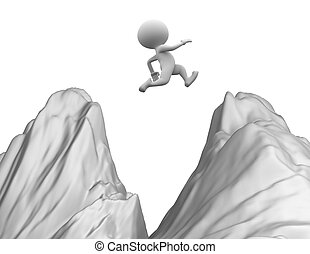 Jump - 3d people - man, person jumping