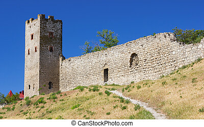 Genoese Fortress - Wall and Tower of the Genoese Fortress....