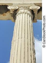 One of the columns at the acropolis in Athens showing detail...