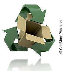 recycle symbol - 3d render of a recycle symbol and card box