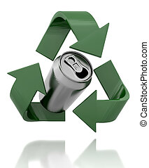recycle symbol - 3d render of a recycle symbol and can