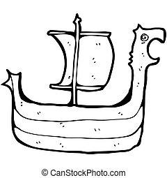 cartoon viking ship