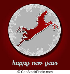 Jumping horse. Happy new year.