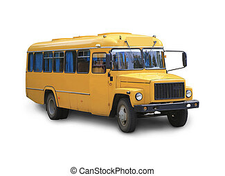 school bus isolated - yellow school bus it is isolated on...
