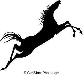 Saltar, caballo, silueta