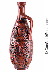 Clay jug - Dark brown clay jug on a white background