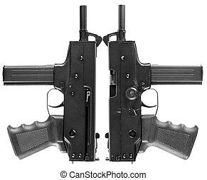 pistolas, automático, dois