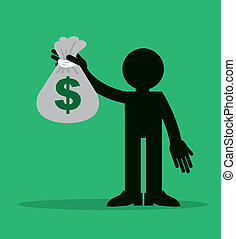 Figure Holding Money Bag - Figure holding up large money bag...