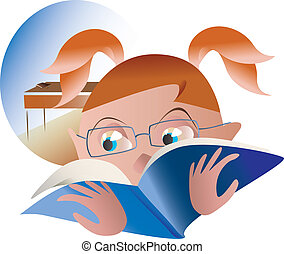 schoolgirl for homework in reading - girl reading a book on...