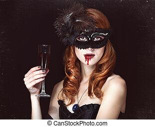 mujer, pelirrojo, máscara, vampiro, vidrio, sangre