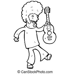cartoon hippie guitar player