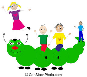 children playing with big caterpillar