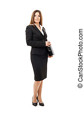 happy successful businesswoman with laptop