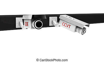 3d security cameras - 3d white security cameras on white...