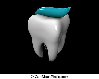 tooth and toothpaste - 3D cartoon of a tooth covered with...
