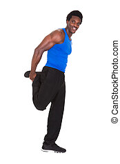 Portrait Of African Man Exercising