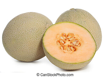 cantaloupe melon fruit, isolated on white background