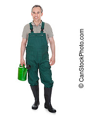 Happy man Holding Watering Can On White Background