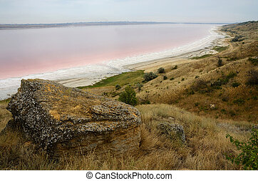 Red water of salt Kuyalnicky liman,analog of Dead...