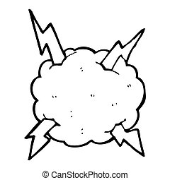 caricatura, trueno, nube