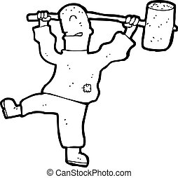cartoon man with huge hammer