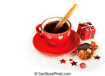 Christmas coffee with cinnamon sticks - Hot winter coffee...