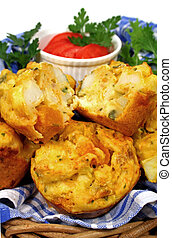 Baked Muffin Cut In Half - Freshly baked vegetable muffins...