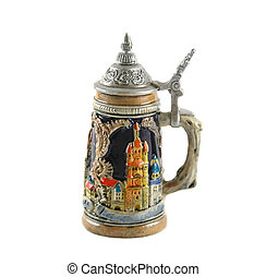 Beer Stein - German style beer stein with pewter lid and...