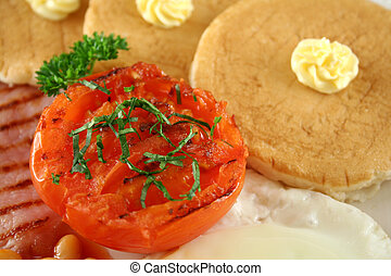 Breakfast 10 - Breakfast of grilled bacon, tomato, egg,...